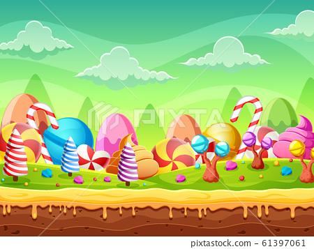 Fantasy Sweet candy land panorama of illustration 61397061