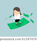 Businesswoman riding surfing flying money. 61397470