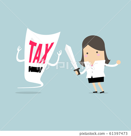 Businesswoman fight with a tax demon with a sword. 61397473