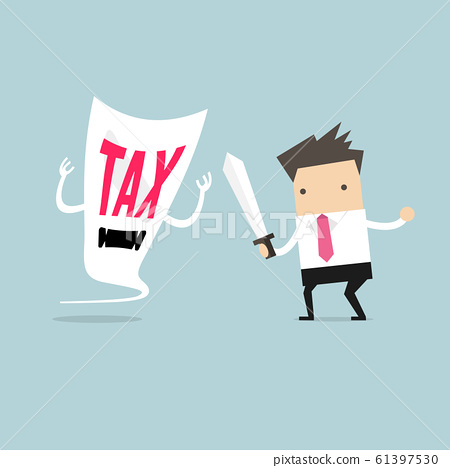 Businessman fight with a tax demon with a sword. 61397530