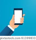 hand holding smartphone vector illustration EPS10 61399833