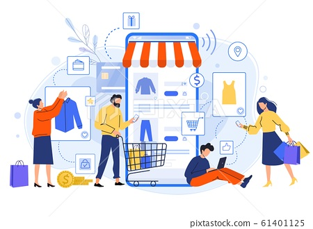 Mobile online shopping. People buy dresses, shirts and pants in online shops. Shoppers buying on internet sale flat vector illustration. Online clothing store. Discount, total sale concept 61401125