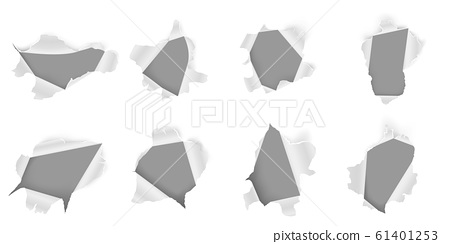 Torn paper hole. Ripped sheet, ragged holes in papers and damaged page realistic 3D vector set. Fractured metallic gaps isolated on white background. Broken iron cliparts collection 61401253