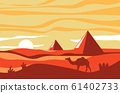 Egyptian pyramids and camel in desert, African landscape at sunset 61402733