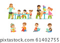 Speech Therapist Going Speech Gymnastics with Preschool Children, Teacher Explaining Alphabet to Kids, Boys and Girls Playing and Studying in Kindergarten or School Vector Illustration 61402755