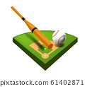 Baseball field isolated icon, bat and ball, sport equipment 61402871