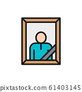 Funeral photo, cemetery flat color line icon. Isolated on white background 61403145