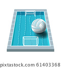 Water polo isolated icon, swimming pool with gates 61403368