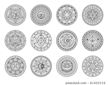 Astrology, occult alchemy, masonry esoteric signs 61403519