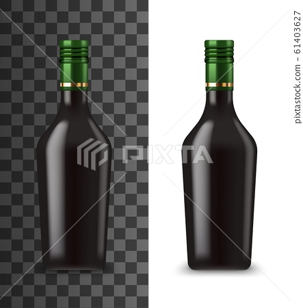 Glass bottle, chocolate cream liquor 3d mockup 61403627
