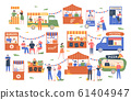 Street food marketplace. Outdoor farmers market, characters buy and sell vegetables, bread, flowers and other products, street shopping trade vector illustration. Local kiosks, food vendor booths 61404947
