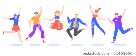 Happy jumping young people. Excited student characters, happy teenagers and joyful people jumped together, happy jumping team isolated vector illustration. Faceless cartoon human set in flat style 61405050