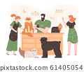 Pets in grooming salon. Domestic dogs and cats in coat care salon, people grooming, washing and cutting pets fur colorful vector illustration. Dog groomers flat characters. Animal hairstyle salon 61405054