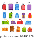 Baggage suitcases. Luggage and handle bags, backpacks, leather case, travel suitcases and bag for trip, tourism and vacation isolated vector icons set. Travel gear multicolor flat illustrations 61405176