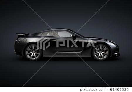 Sports coupe car, studio setup, on a dark background. 61405386