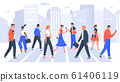Business people cross road. People in city crosswalk, office workers walking on crowded. Businessman and businesswoman crosswalk vector illustration 61406119