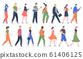 Walking people. Business men and women walk side profiles, people in seasonal and office clothes. Young and elderly moving stylish characters vector illustration set 61406125