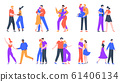 Young romantic couples in love. Happy boyfriend and girlfriend romantic date. Dancing, taking selfies and decided to get married couples vector illustration set 61406134