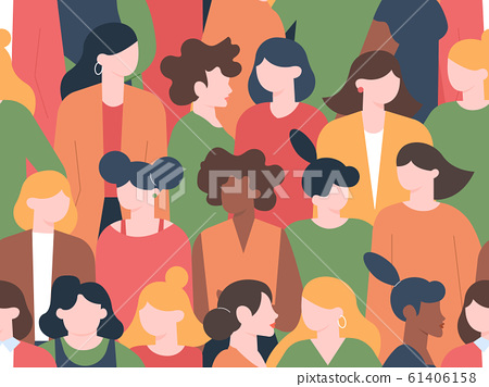 Women crowd seamless pattern. Womens characters group portraits, female community with various hairstyles. Multicultural women portrait diversity vector illustration 61406158