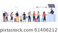 Airport departure area. Plane boarding flight register, tourists with luggage in landing queue check in vector illustration 61406212