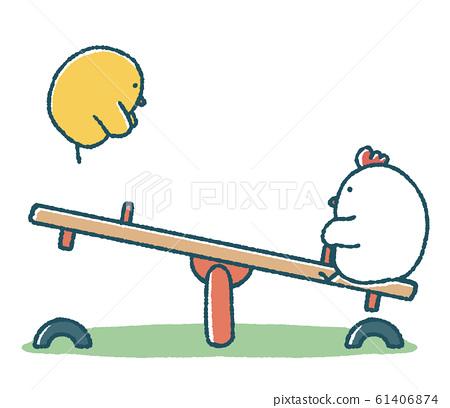 松雞和小雞做蹺蹺板 61406874