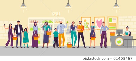 People waiting in store line. Long shop queue, customers in line for cash register and waiting for buy flat vector illustration 61408467