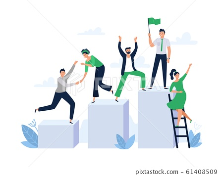 Career ladder with team people. Office worker hold flag, group leader and team building flat vector illustration 61408509