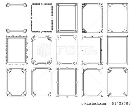 Vintage calligraphic frames. Ornate calligraph frame, retro elegant ornamental borders and filigree floral ornaments for framed certificate template vector illustration set 61408596