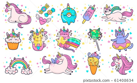 Cute hand drawn patches. Magic fairytale pony unicorn, fabulous cat and sweet candy stickers cartoon vector illustration set 61408634