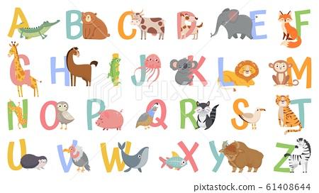 Cartoon Animals Alphabet For Kids Learn Stock Illustration 61408644 Pixta
