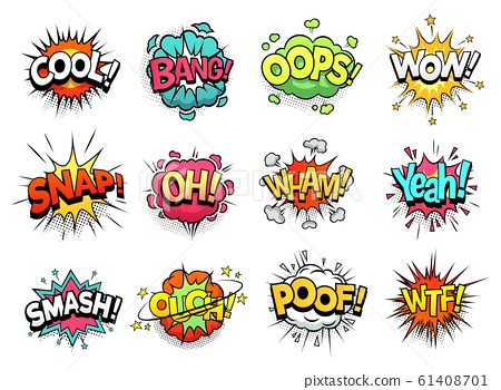Comic sign clouds. Boom bang, wow and cool speech bubbles. Burst cloud expressions cartoon vector set 61408701