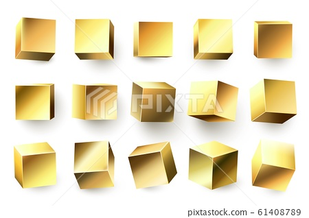 Gold metal cube. Realistic geometric 3D square shape, golden metallic cubes and shiny yellow shapes vector illustration set 61408789