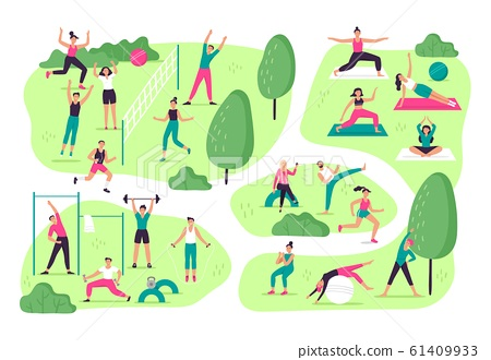 People do sports in park. Outdoor sport activities, group workout and healthy lifestyle vector illustration 61409933