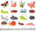 Cartoon bugs. Baby insect, funny happy bug and cute ladybug vector set 61410002