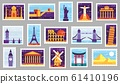World cities post stamps. Travel postage stamp design, city attractions postcard and town vector illustration set 61410196