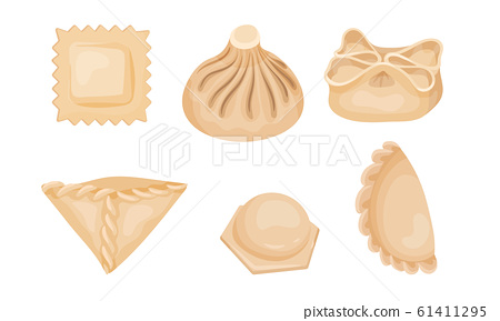 Dumplings of Dough Vector Set. Different Types of Folding Dumplings 61411295