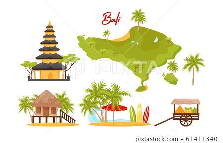 Bali Symbols Vector Set. Famous and Favorite Tourist Destination 61411340