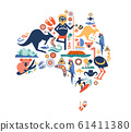 Australia illustration of map with many icons, symbols. Vector design 61411380