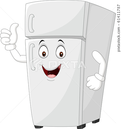 Cartoon fridge mascot giving thumbs up 61411787