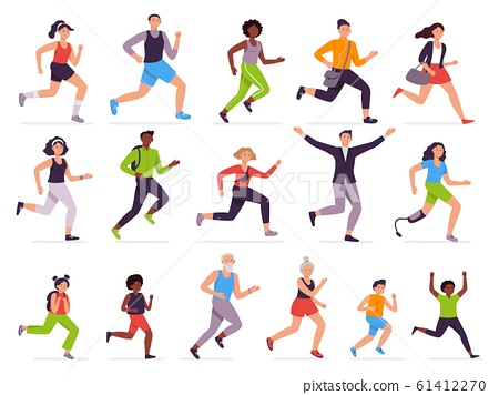 People run. Running person, fast girl and sprinting boy. Jogging kids, man and woman. Runners characters vector illustration set. Athletes training, students late for school. Healthy lifestyle, haste 61412270
