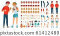 Teenager character constructor. Teenage boy, young girl character creation bundle and teenagers couple cartoon vector illustration set. Avatar building kit with faces, body parts and accessories 61412489