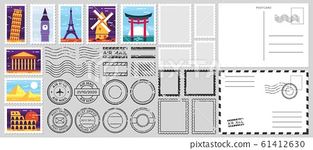 Postage stamps. Air mail envelope, post office stamp and postal stamps vector set. Cachets and postmarks with different landmarks illustrations. Blank postcard and letter templates with text space
