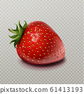 Strawberry with green leaf isolated on transparent 61413193