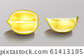 Lemon, sliced citrus with shadow realistic 61413195