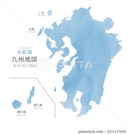 水彩風格的九州地圖 61413506