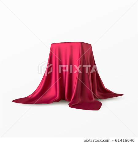 Realistic box covered with red silk cloth. Isolated on white background. Satin fabric wave texture material. Textile design, fabric. Vector illustration 61416040