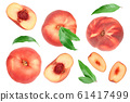 Ripe chinese flat peach fruit and half with leaf isolated on white background. Top view. Flat lay 61417499