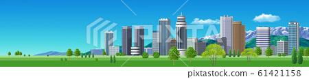 거리 풍경 빌딩 - 가로 B 일러스트 61421158
