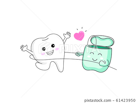 Cute Cartoon Tooth Character Using Dental Floss Stock Illustration 61423950 Pixta