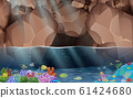 landscape of colorful coral and fish at the cave in the ocean 61424680